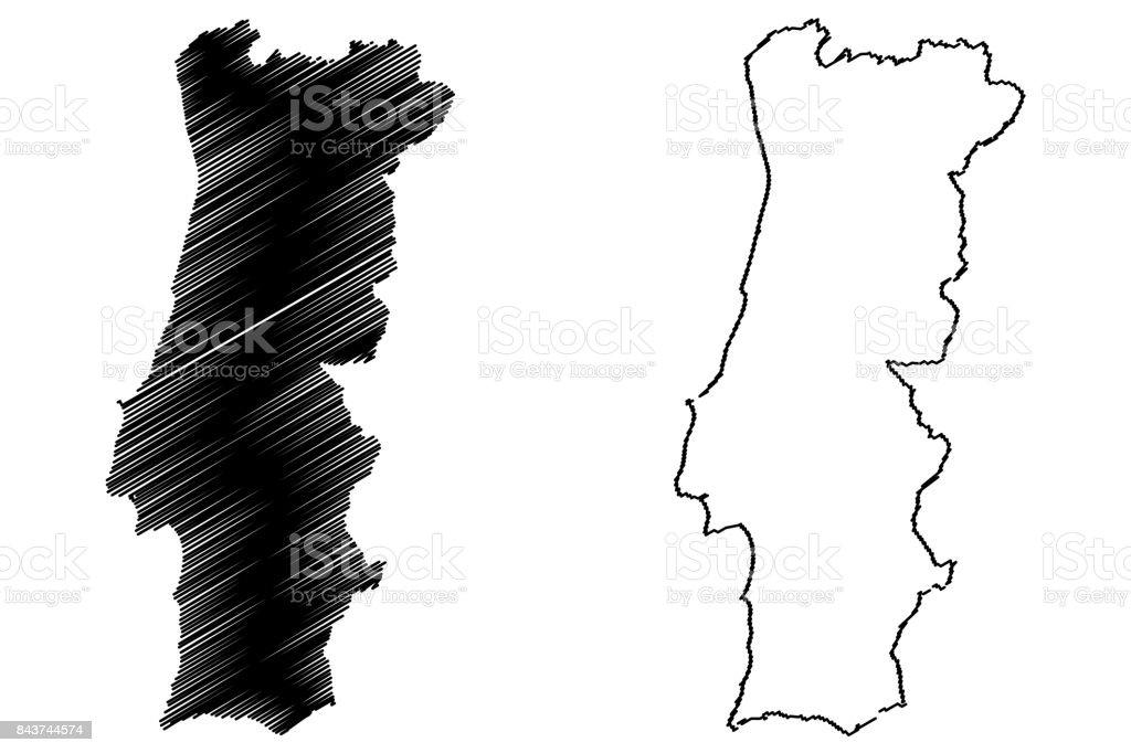Portugal Map Vector Stock Vector Art IStock - Portugal map vector