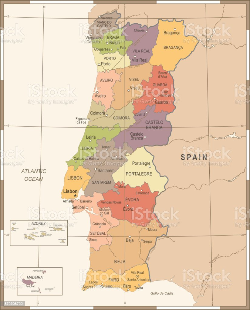 Carte de Portugal - Illustration vectorielle détaillée Vintage - Illustration vectorielle