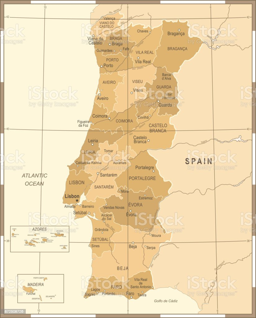Carte de Portugal - Illustration vectorielle Vintage - Illustration vectorielle