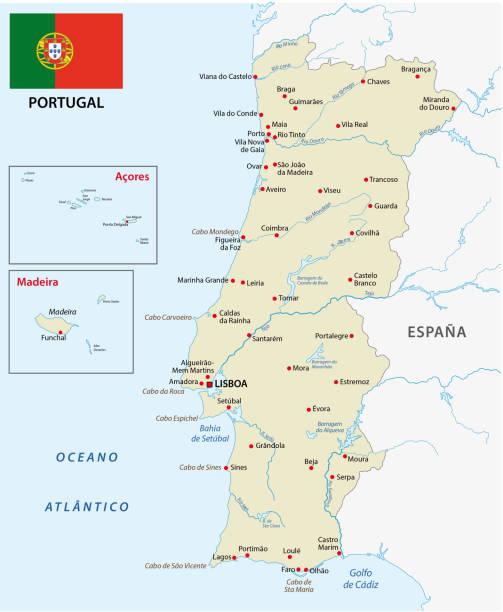 ilustrações de stock, clip art, desenhos animados e ícones de portugal map with flag - vila real