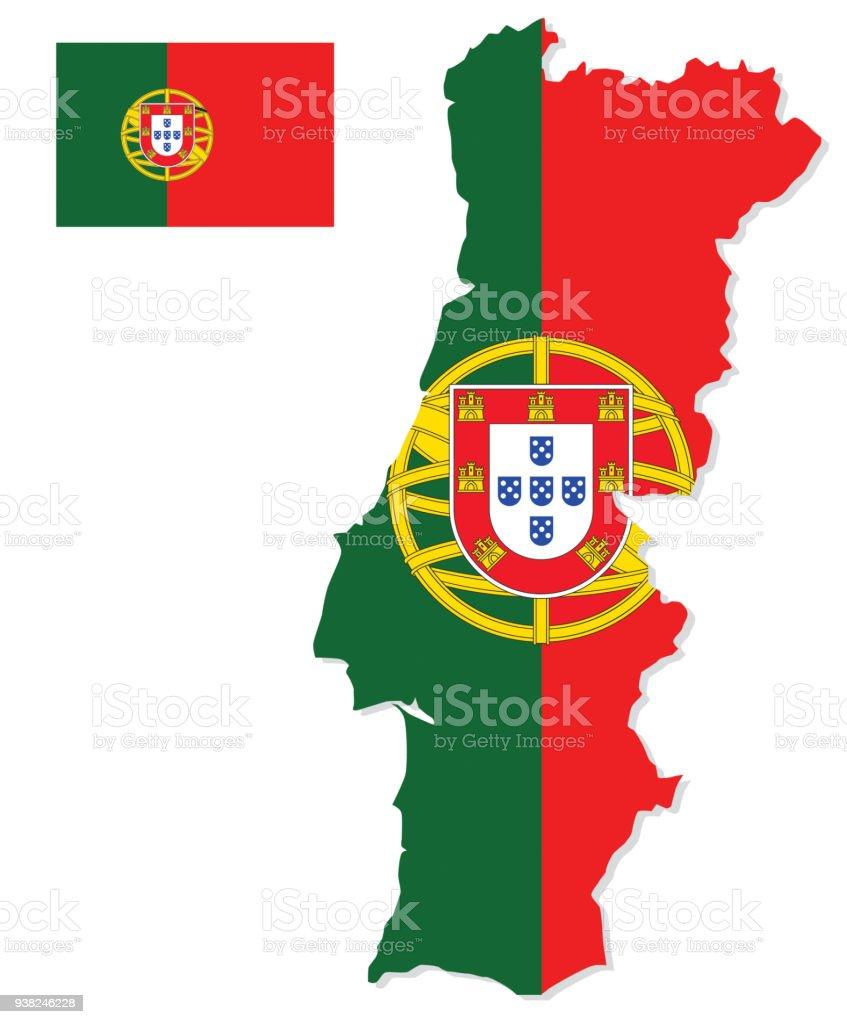 Portugal map with flag - ilustração de arte vetorial