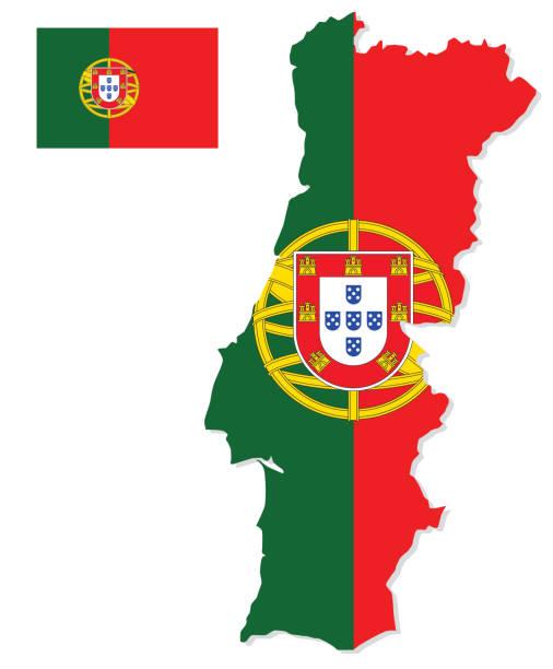 ilustrações de stock, clip art, desenhos animados e ícones de portugal map with flag - portugal map