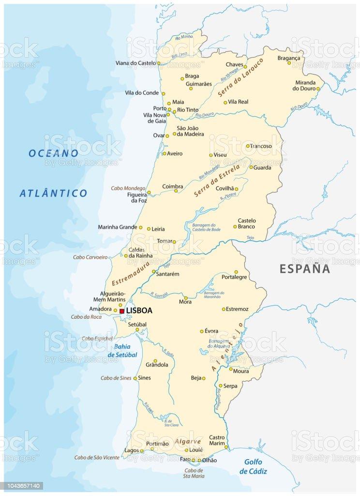 Carte du Portugal avec les grandes villes et rivières - Illustration vectorielle