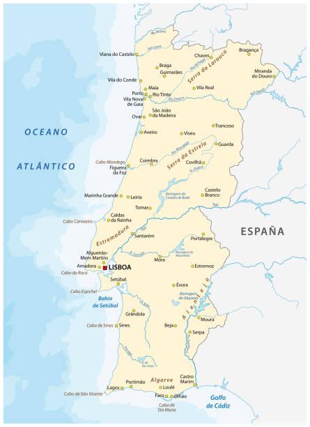 ilustrações de stock, clip art, desenhos animados e ícones de portugal map with major cities and rivers - algarve