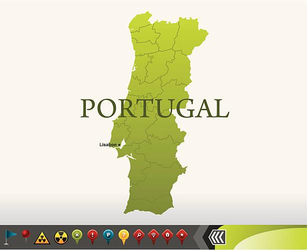 ilustrações de stock, clip art, desenhos animados e ícones de portugal mapa com ícones de navegação - algarve