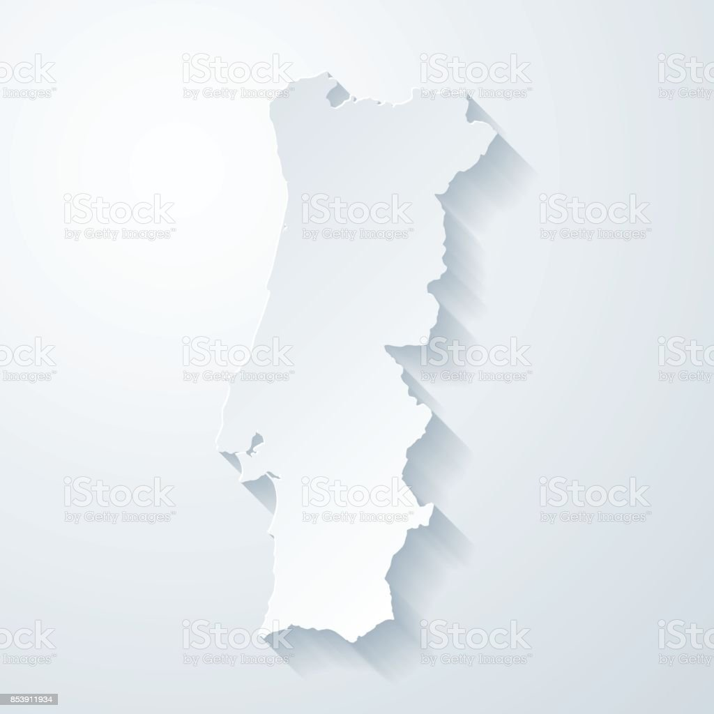 Portugal map with paper cut effect on blank background vector art illustration