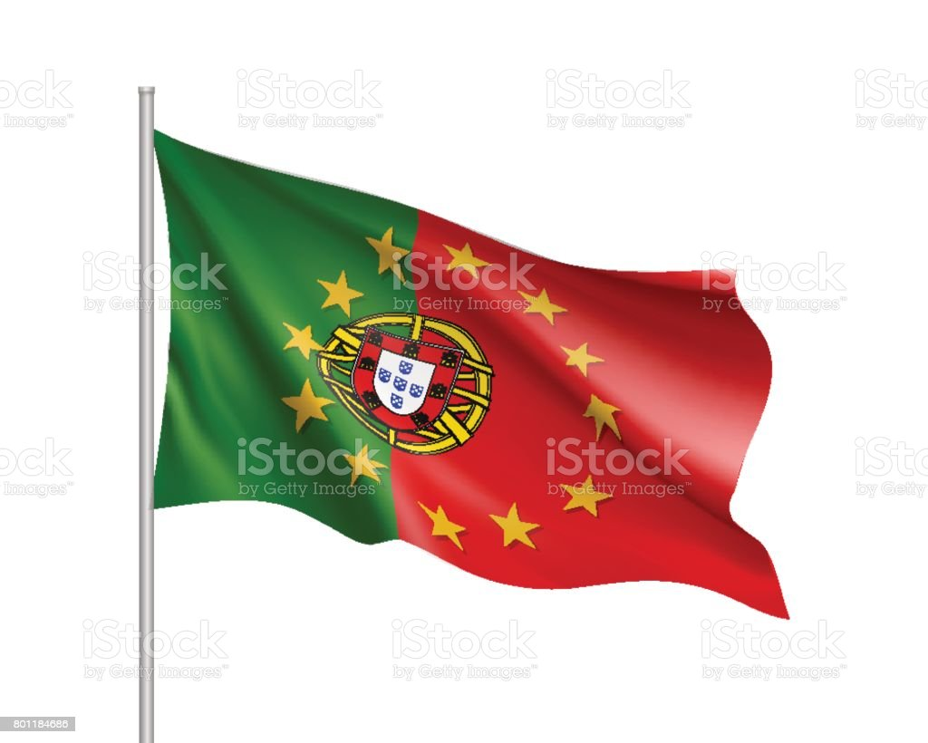 Portugal national flag with a star circle of EU - ilustração de arte vetorial