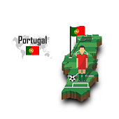 Portugal national soccer team . Football player and flag on 3d design country map .