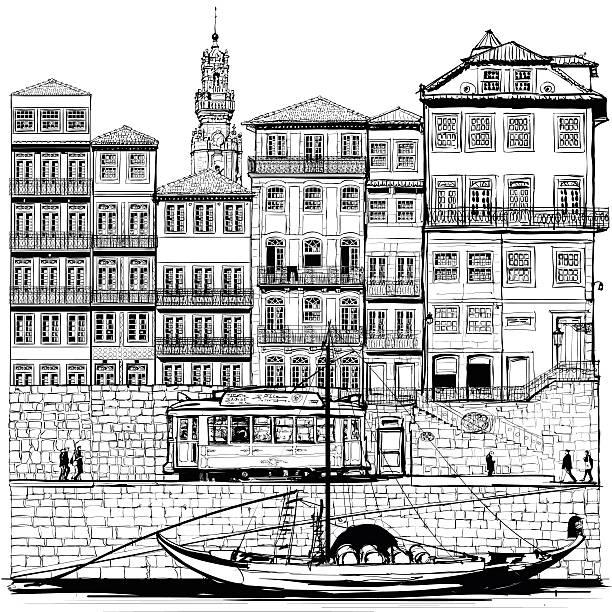 ilustrações de stock, clip art, desenhos animados e ícones de portugal, antigo porto e barcos tradicionais - douro