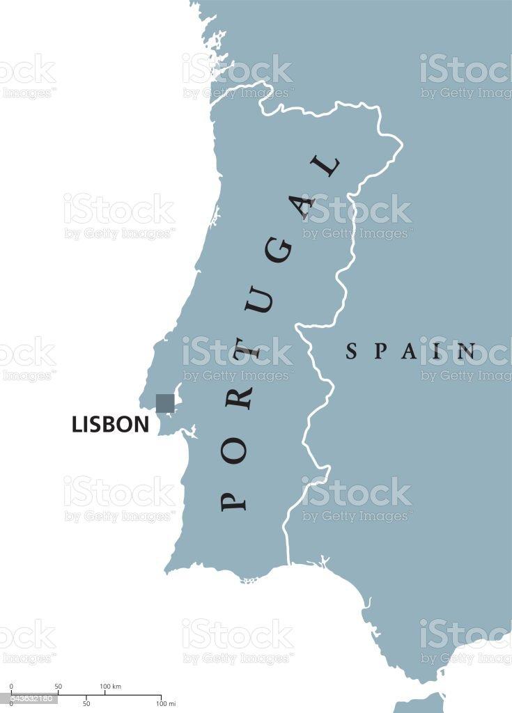 Carte politique de Portugal avec Lisbonne et pays voisin. - Illustration vectorielle