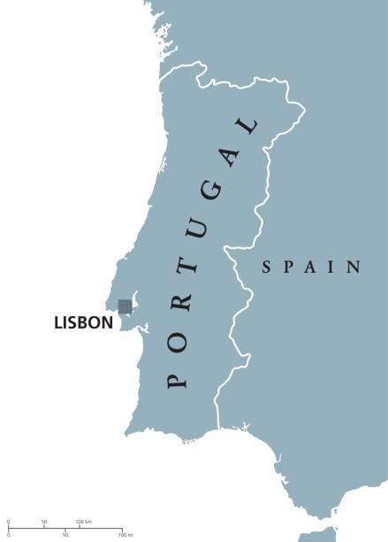 ilustrações de stock, clip art, desenhos animados e ícones de portugal political map with capital lisbon and neighbor countries. - algarve