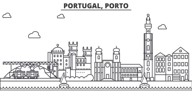ilustrações de stock, clip art, desenhos animados e ícones de portugal, porto architecture line skyline illustration. linear vector cityscape with famous landmarks, city sights, design icons. landscape wtih editable strokes - porto portugal