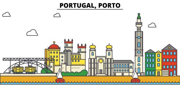 ilustrações de stock, clip art, desenhos animados e ícones de portugal, porto. city skyline: architecture, buildings, streets, silhouette, landscape, panorama, landmarks. editable strokes. flat design line vector illustration concept. isolated icons set - porto portugal