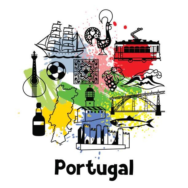 ilustrações de stock, clip art, desenhos animados e ícones de portugal print design. portuguese national traditional symbols and objects - eletrico lisboa