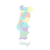 Portugal region map: colorful with white outline.