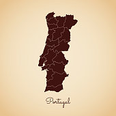 Portugal region map: retro style brown outline on old paper background. Detailed map of Portugal regions. Vector illustration.