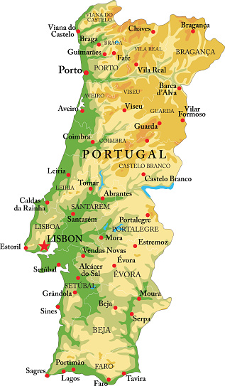 Portugal relief map