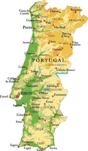 ilustrações de stock, clip art, desenhos animados e ícones de portugal relief map - portugal map