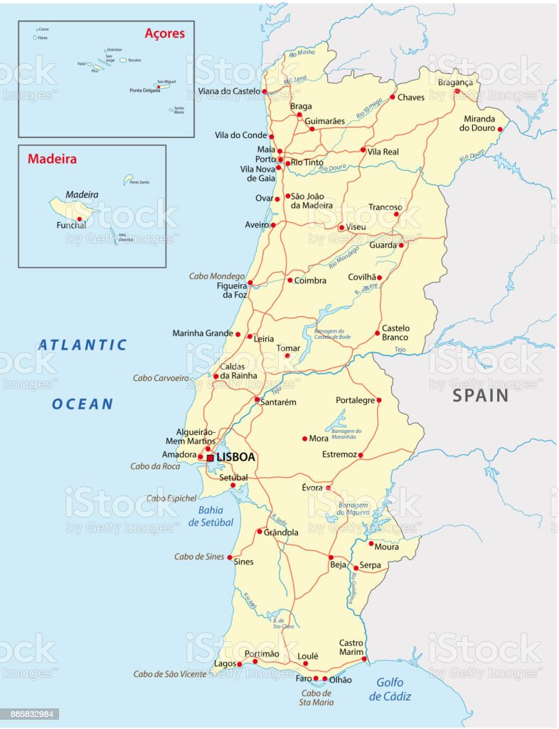 Mapa De Carreteras Portugal.Ilustracion De Mapa De Carreteras De Portugal Y Mas Vectores