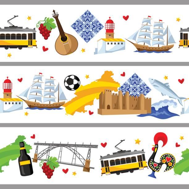 ilustrações de stock, clip art, desenhos animados e ícones de portugal seamless borders. portuguese national traditional symbols and objects - eletrico lisboa