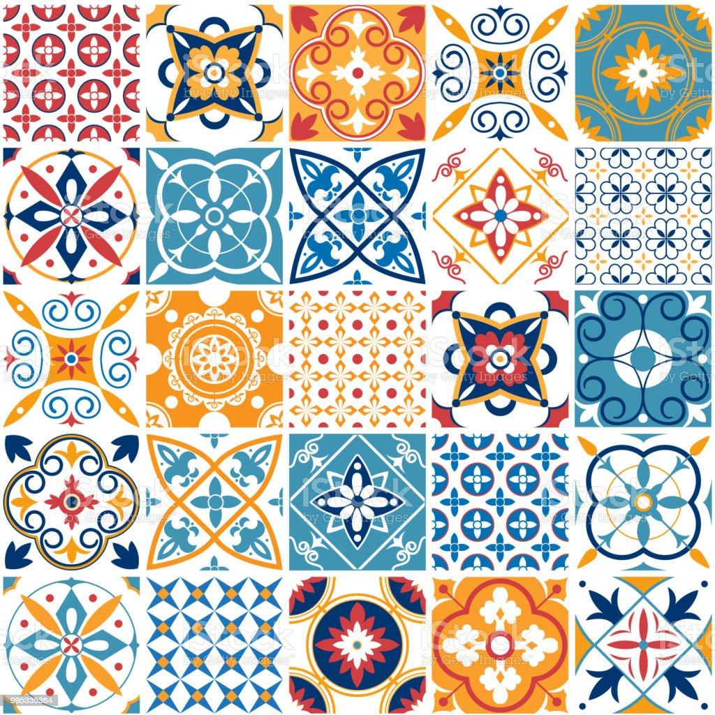 Portugal Seamless Pattern Vintage Mediterranean Ceramic Tile Texture ...