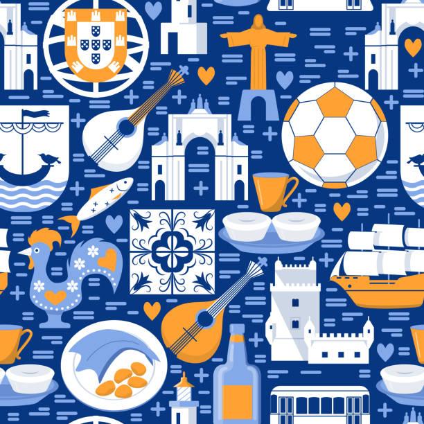 portugalia bezszwowy wzór z ikonami w płaskim stylu - lizbona stock illustrations