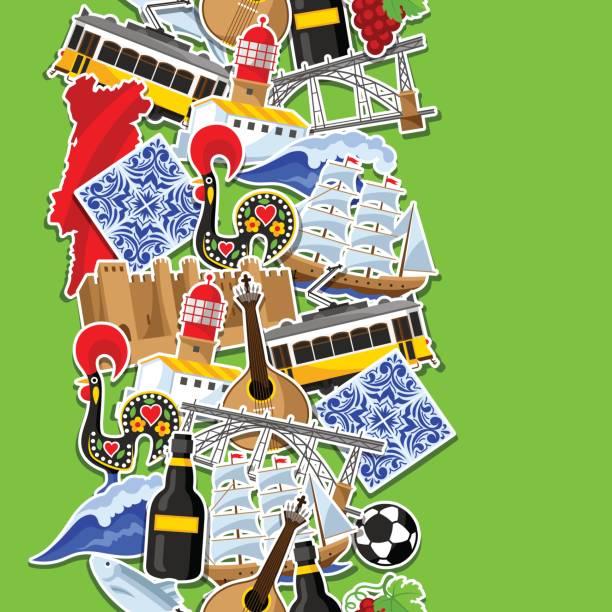 ilustrações de stock, clip art, desenhos animados e ícones de portugal seamless pattern with stickers. portuguese national traditional symbols and objects - eletrico lisboa