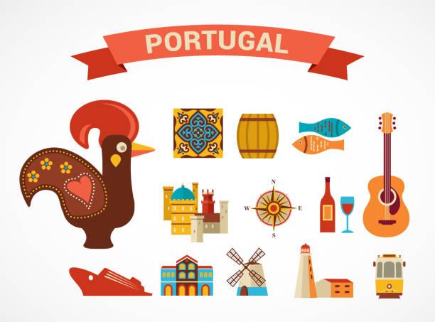 ilustrações de stock, clip art, desenhos animados e ícones de portugal-conjunto de ícones de vector - algarve