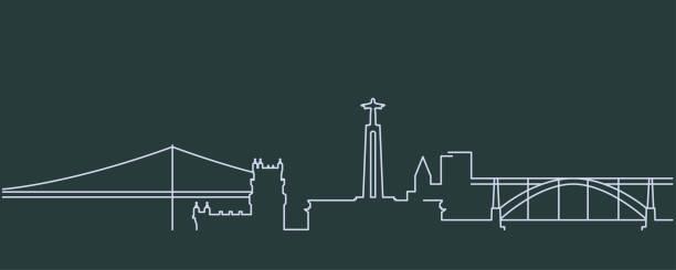 portugalia prosta linia skyline i landmark sylwetki - lizbona stock illustrations