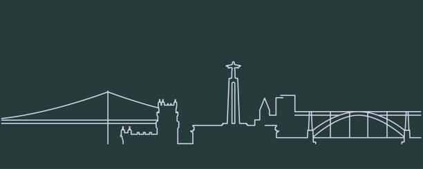portugal simple line skyline and landmark silhouettes - lizbona stock illustrations