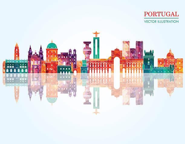 portugalia panoramę miasta. ilustracja wektorowa - portugalia stock illustrations