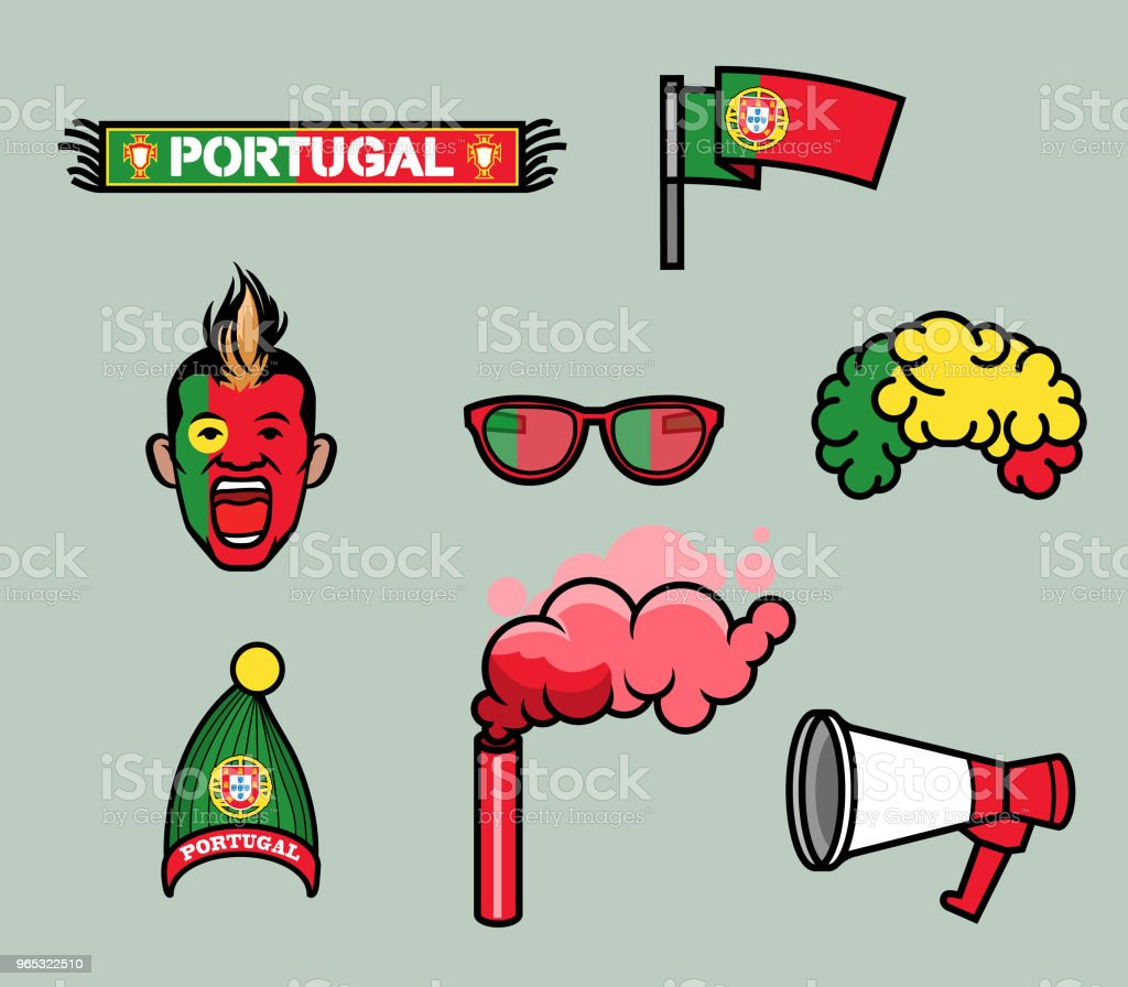portugal soccer supporter gear set royalty-free portugal soccer supporter gear set stock vector art & more images of ball
