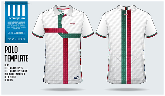 Portugal Team Polo t-shirt sport template design for soccer jersey, football kit or sportwear. Classic collar sport uniform in front view and back view. T shirt mock up for sport club.