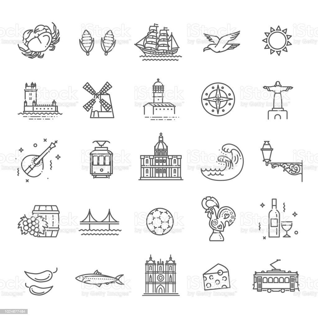 Portugal travel icons set - Grafika wektorowa royalty-free (Architektura)