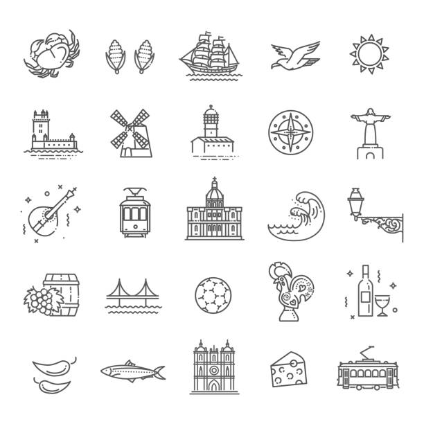 portugal travel icons set - lizbona stock illustrations