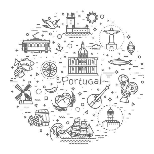 Portugal-Reise-Ikonen-set – Vektorgrafik