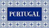 istock Portugal travel illustration vector. White and blue background with traditional tile pattern frame from Portuguese ceramic azulejos ornaments 1214926389