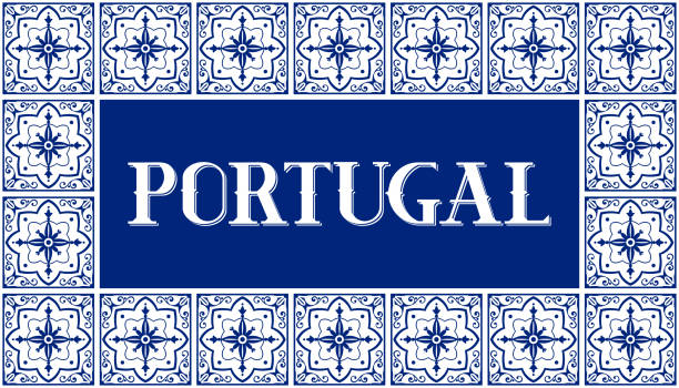 ilustrações de stock, clip art, desenhos animados e ícones de portugal travel illustration vector. white and blue background with traditional tile pattern frame from portuguese ceramic azulejos ornaments - viana do castelo