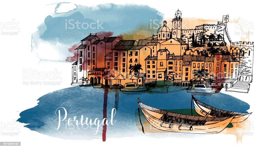 Portugal - Grafika wektorowa royalty-free (Akwarela)