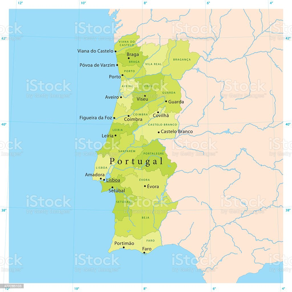 Portugal Vetor Mapa Download Vetor E Ilustração IStock - Portugal mapa