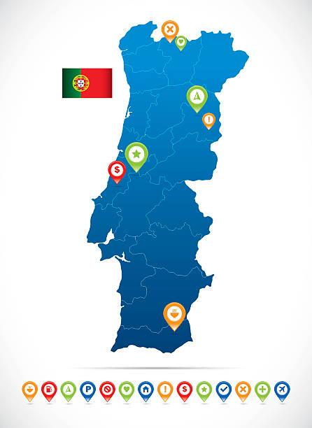 Portugal vetor mapa - ilustração de arte vetorial