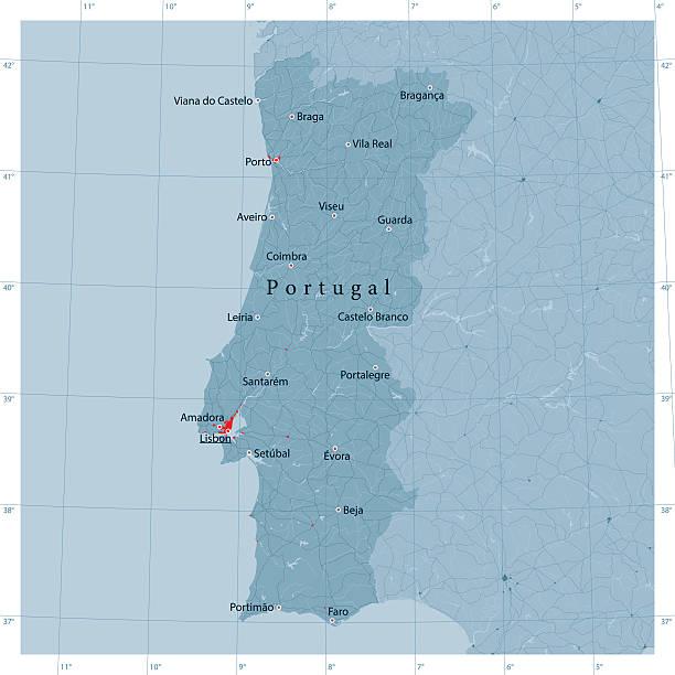 ilustrações de stock, clip art, desenhos animados e ícones de portugal vetor mapa de estradas - portugal map