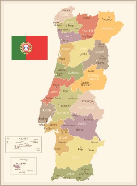 stockillustraties, clipart, cartoons en iconen met portugal - vintage kaart en vlag - illustratie - albufeira