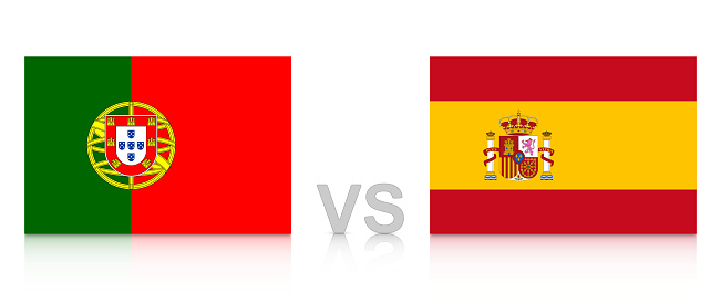 Portugal vs. Spain. Russia 2018. National flags with reflection isolated on white background.