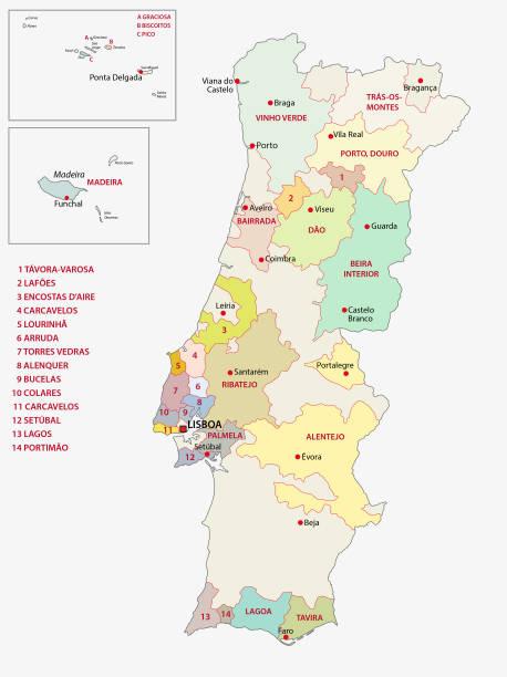 mapa regionów winiarskich portugalii - lizbona stock illustrations