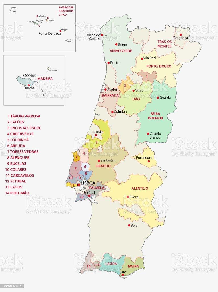 Portugal wine regions map - ilustração de arte vetorial