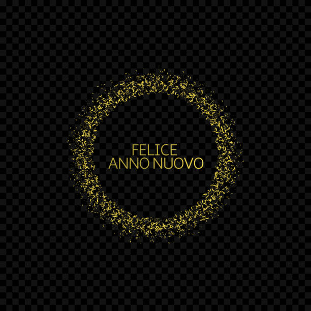Portugese Christmas label Portugese New Year label. Feliz ano novo, golden confetti label ano novo stock illustrations