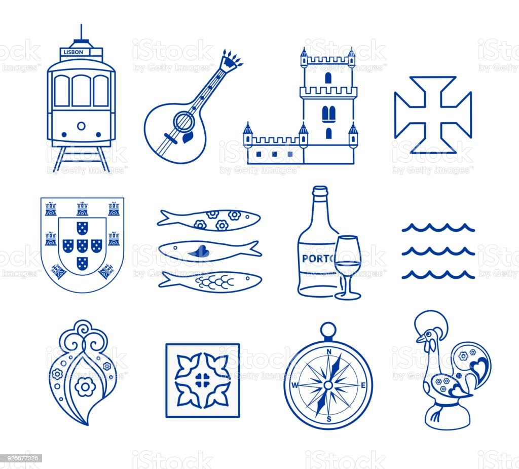 Portugese icon set vector vector art illustration
