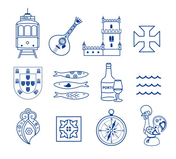 portugese icon set vector - lizbona stock illustrations