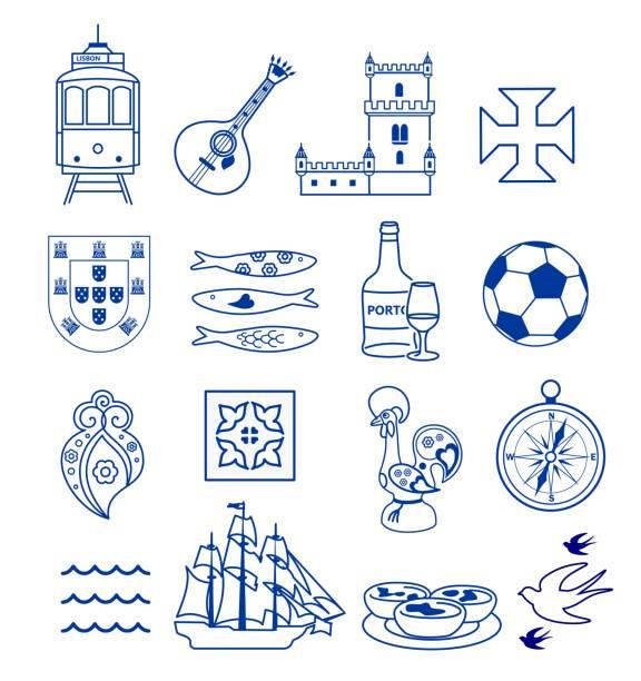 ilustrações de stock, clip art, desenhos animados e ícones de portugese icon set vector - portugal